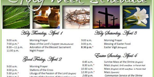 2021 Holy Week & Easter Schedule